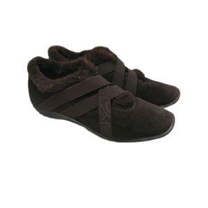 Stuart Weitzman Faux Fur Lined Suede Comfort Shoes